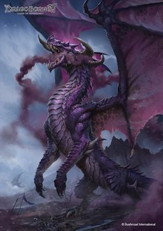 Dragoborne- Cardgame Illustrations Artwork done for Dragoborne -Rise to Supremacy- ©Bushiroad International Caio Monteiro Types Of Dragons, Dnd Dragons, Fantasy Monster, Monster Art, Magical Creatures, Fantasy Creatures, Fantasy Dragon, Fantasy Art, Design Dragon