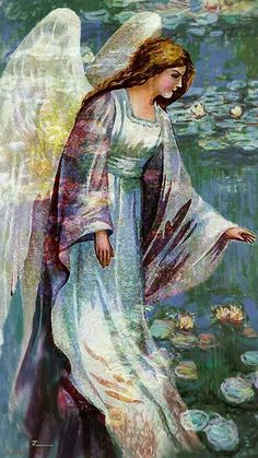 Angel among the Lilly pad painting. Impressionist style prophetic art.