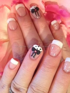 White French with 3D acrylic bows