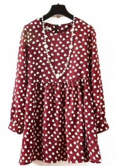 Wine Red Long Sleeve Hearts Print Pleated Chiffon Dress pictures