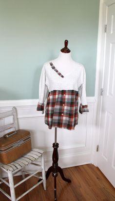 Plaid Tunic Top Upcycled Sweatshirt Flannel Shirt by JosefineandMe, $38.00