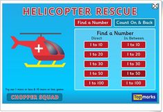 Helicopter Rescue is a mental maths game for 4 to 8 year olds which can help you to know your two-digit numbers and help with addition and subtraction skills. It covers different vocabulary such as more than, less than, count on and count back. Fun Math Activities, Motor Skills Activities, Learning Resources, Math Games, Counting Games, Kids Printable Coloring Pages, Learn To Count, Number Games, First Grade Math
