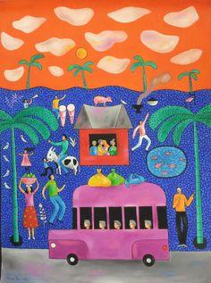 Original Painting Landscape Folk Naive Naif Dominican Haitian Cuban Caribbean Latin American Art by Jose Morillo  (EAT)