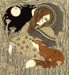 by Anita Inverarity - girl and fox under the moon
