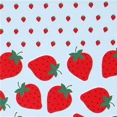 blue Kokka strawberry fruit oxford fabric from Japan 1