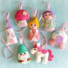 Fairytale Collection. Hand sewn set of 7 felt decorations.