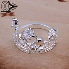 Free Shipping Wholesale Silver-plated Ring,Silver Fashion Jewelry,Inlaid Stone Crown Women&Men Gift Silver Jewelry Finger Rings #Affiliate