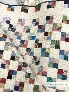 Last November I had the opportunity to speak to the St. A woman named Jean Gilbertson brought this amazing quilt fo.use strips for a 2 squares 4 Patch Quilt, Quilt Blocks, Scrappy Quilts, Easy Quilts, Star Quilts, Postage Stamp Quilt, Scrap Quilt Patterns, Charm Pack Quilts, Quilt Modernen
