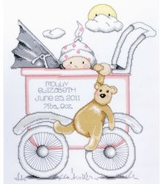Tobin Baby Buggy Girl Birth Record Counted Cross Stitch Kit , , hi-res