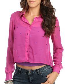 Rhinestone Woven Shirt