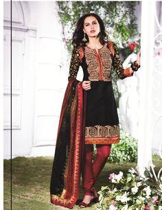 Black Cotton Salwar Kameez 15551