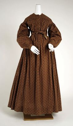 Brown printed cotton dress or wrapper, American or European, 1840-45.