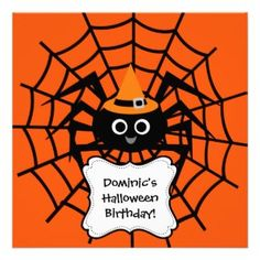 Whether he's having a Halloween party or Halloween birthday party, he's sure to love these vibrant Spider Web Halloween party invitations! You can easily customize these Halloween party invites with your party specifics! Halloween Gift Bags, Halloween Arts And Crafts, Fete Halloween, Family Halloween, Halloween Stuff, Halloween Birthday Party Invitations, Kids Birthday Party Invitations, Birthday Ideas, Spider