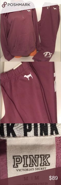 """Victoria's Secret Pink Boyfriend Sweater/Pants NWT VICTORIA'S SECRET YOU GET (2) PIECES BOTH SWEATER AND MATCHING SWEATPANTS   """"PINK COLLECTION""""  Boyfriend Half-Zip Sweatshirt  Oversized fit Mockneck Cozy, supersoft Fleece Longer, tunic length Kangaroo pockets Imported cotton/polyester Color: dusty mauve plum  Pants are logo 27.5"""" inches long with back pocket.  THIS SET IS SUPER CUTE BOTH SIZE MEDIUM AND GREAT COLOR  Smoke free environment PINK Victoria's Secret Sweaters"""