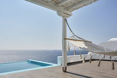 The amazing Aegean view from the Deluxe Suite with Private Pool Mykonos Town Hotels, Hotel Suites, Private Pool, Outdoor Furniture, Outdoor Decor, Greece, Boutique Hotels, Islands, Amazing