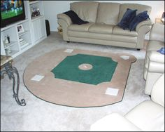 baseball field rug- I need this for the man cave! When he gets a man cave. Boy Room, Kids Room, Child's Room, Baseball Crafts, Baseball Decorations, Baseball Field, Baseball Live, Baseball Stuff, Baseball Man Caves