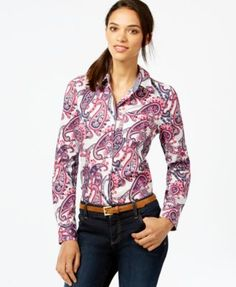 Tommy Hilfiger Button-Down Shirt, Paisley Print - Tops - Women - Macy's