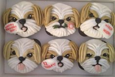 """shih tzu cupcakes PINNER SAID : """"I could not eat these too cute!"""" Oh! but I could!! LOL"""