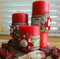 Scrapbook candles for Christmas
