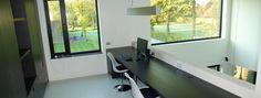 total interior renovation, villa Moerkerke - by Upgrade  Black and white home office in modern villa