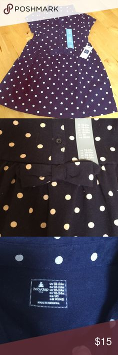 🍼polka dot dress🍼 Brand new dress! Navy blue with white polka dots. Bow detail at waist. 100% cotton. Buttons to waist. Baby Gap Dresses Casual