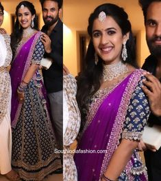 niharika konidela engagement photos 7 scaled e1597359087654 Indian Bridal Fashion, Indian Bridal Wear, Indian Wedding Outfits, Bridal Outfits, Half Saree Designs, Lehenga Designs, Ethnic Outfits, Ethnic Dress, Blouse Neck Designs