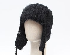 e3a3c40b859 BLACK trapper hat   Unisex ear flap hat   Knitted chunky winter hat   Mens  trapper