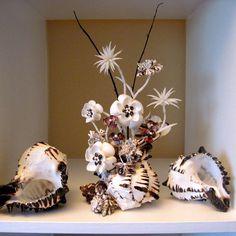 seashell flowers | Chocolate Orchid Seashell Flower Sculpture / ... | seashell craft idea