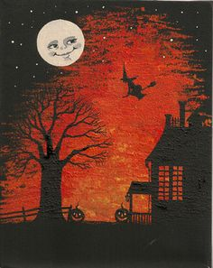 11x14 HALLOWEEN PRINT OF PAINTING ART RYTA HAUNTED HOUSE FOLK ART MAGIC MOON