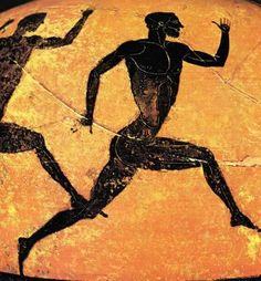 Runners. Taken from a Panathenaic amphora (460 BC). Scan from: Nicolaos Yalouris, The Olympic Games in Ancient Greece, 1982, p. 162 (Museo Civico, Bologna)