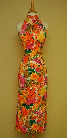 Vintage 60s Tiki Dress  Tropical Hawaiian Pinup by TaraMiSioux, $88.00