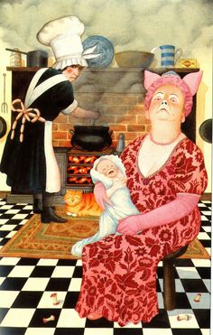 """Anthony Browne on his new illustrations for Alice in Wonderland: """"I tried to show the porcine aspects of the Duchess - the bow in her hair that may remind us of a pig's ears, the nostrils like a snout, she's dressed in pink, and, if that's not enough, there are even sausages round the cook's apron."""""""