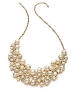 Charter Club Gold-Tone Glass Pearl Bib Necklace | macys.com