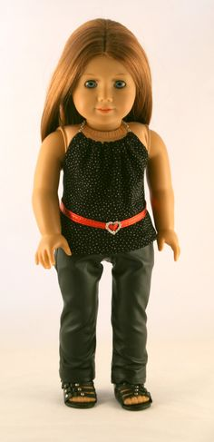 American Girl Doll Clothes - Faux Leather Jeans, Sparkly Halter Top, and Red Belt