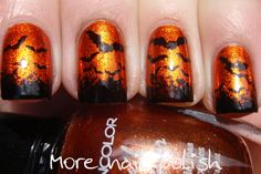 Batty Halloween mani - Kleancolor Metallic Orange for the base and then sponged on a black tip  leaving the spongy edge rough to look like tiny bats off in the distant horizon. tiny bats. Next various sized bat stamps from the Bundle Monster plates. BM305 for the littlest ones and  BM213 for the larger ones, making the bats get bigger and bigger up the nail.
