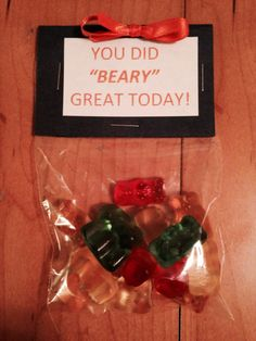 Bags of gummy bears for cheer!