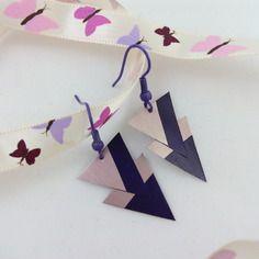 Boucles d'oreille asymétriques roses et violettes en capsule de café nespresso