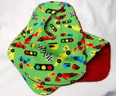 Bib and Burp Cloth  Race Cars on Green    Ready to by beyondquilts, $7.95