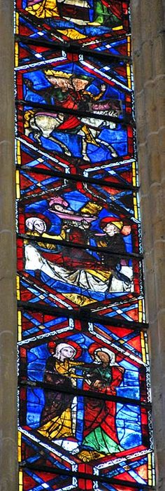 Saint Gatien Cathedral ~ Tours ~ Loire Valley ~ France~ Medieval stained glass window.