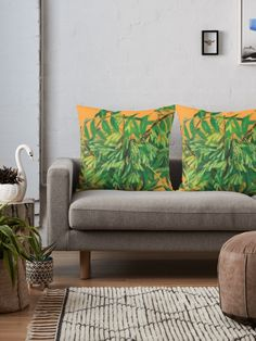 """""""""""Ash-tree"""", green & yellow, floral art"""" Floor Pillows by clipsocallipso 