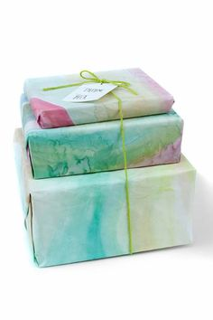 DIY Gift Wrapping Ideas - How To Wrap A Present - Tutorials, Cool Ideas and Instructions | Cute Gift Wrap Ideas for Christmas, Birthdays and Holidays | Tips for Bows and Creative Wrapping Papers |  Water Color Gift Wrap |  http://diyjoy.com/how-to-wrap-a-gift-wrapping-ideas