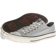 Converse Chuck Taylor All Star Washed Canvas Ox Lace up casual Shoes ($34) ❤ liked on Polyvore featuring shoes, sneakers, converse, grey, gray shoes, grip trainer, star shoes, lace up sneakers and converse shoes