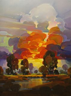 "Contemporary Painting - ""Flaming Dusk 2"" (Original Art from Mac Stevenson)"