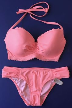3e1f1e7c28 Victorias Secret Swimsuit Bikini Set 32DD XS Solid Peach Pink Scallop Ruched   fashion  clothing  shoes  accessories  womensclothing  swimwear (ebay link)