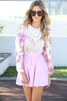 Sabo Skirt Soft Floral Blazer + Pink Pleated Skirt. Pastel!!