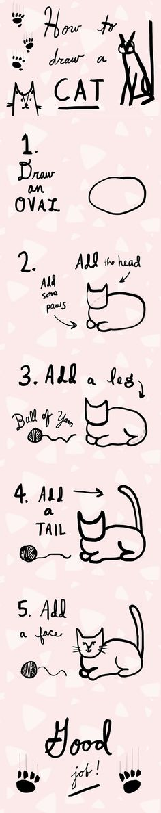 How To Draw a Cat by Catazoa Learn How to Draw a Cat in Five Easy Steps! http://catazoa.com/2016/02/18/how-to-draw-a-cat/ step by step how to draw cat  cat drawing meow