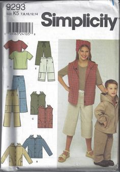 Simplicity 9293 Pattern for Kids' Jacket Vest by VictorianWardrobe, $4.00