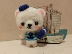 Timoteo, sailor bear needle felted by MJ Crafts