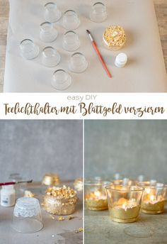 Instructions for home-made, inexpensive DIY decoration ideas for your table decoration for a wedding in a vintage look with gilded tealight holders. DIY simple and inexpensive: make your own deco ideas for your wedding Diy Simple, Easy Diy, Diy Wedding Lighting, Event Lighting, Diy Pinterest, The Bride, Look Vintage, Vintage Music, Wedding Save The Dates