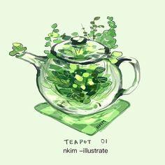 Matcha Dessert, Glass Teapot, Set Me Free, Epic Art, Aesthetic Drawing, Plant Art, Halloween Season, Character Illustration, Drinking Tea